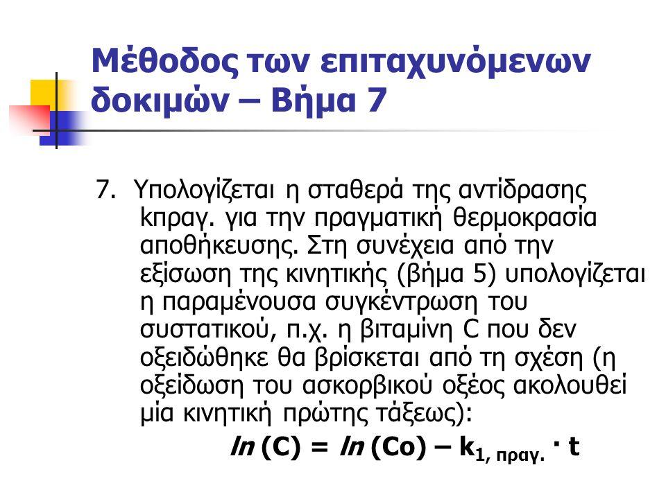 Μέθοδος των επιταχυνόμενων δοκιμών – Βήμα 7 7. Υπολογίζεται η σταθερά της αντίδρασης kπραγ.
