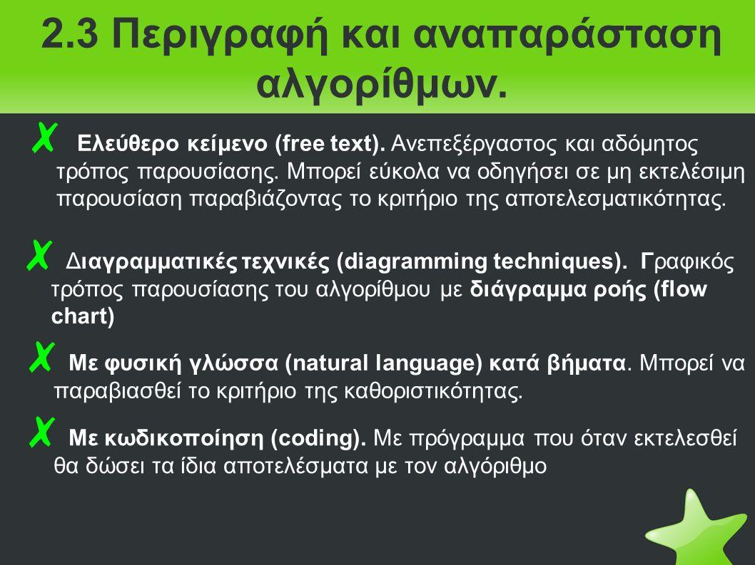 2.3 Περιγραφή και αναπαράσταση αλγορίθμων. ✗ Ελεύθερο κείμενο (free text).