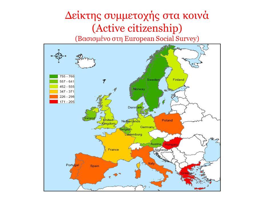 Δείκτης συμμετοχής στα κοινά (Active citizenship) (Βασισμένο στη European Social Survey)
