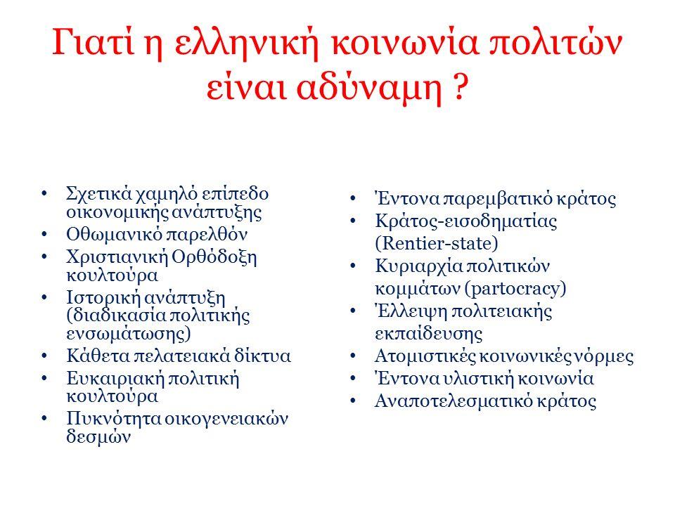 Γιατί η ελληνική κοινωνία πολιτών είναι αδύναμη ? Σχετικά χαμηλό επίπεδο οικονομικής ανάπτυξης Οθωμανικό παρελθόν Χριστιανική Ορθόδοξη κουλτούρα Ιστορ