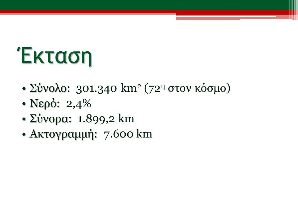 Έκταση Σύνολο:Σύνολο: 301.340 km 2 (72 η στον κόσμο) Νερό:Νερό: 2,4% Σύνορα:Σύνορα: 1.899,2 km Ακτογραμμή:Ακτογραμμή: 7.600 km