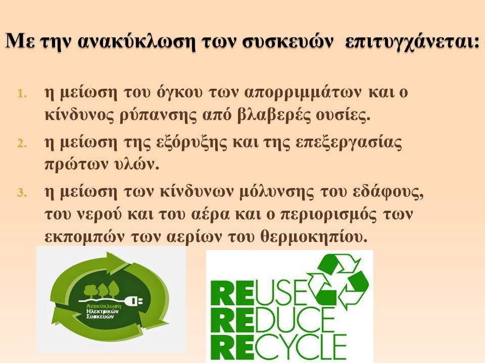 1. η μείωση του όγκου των απορριμμάτων και ο κίνδυνος ρύπανσης από βλαβερές ουσίες.