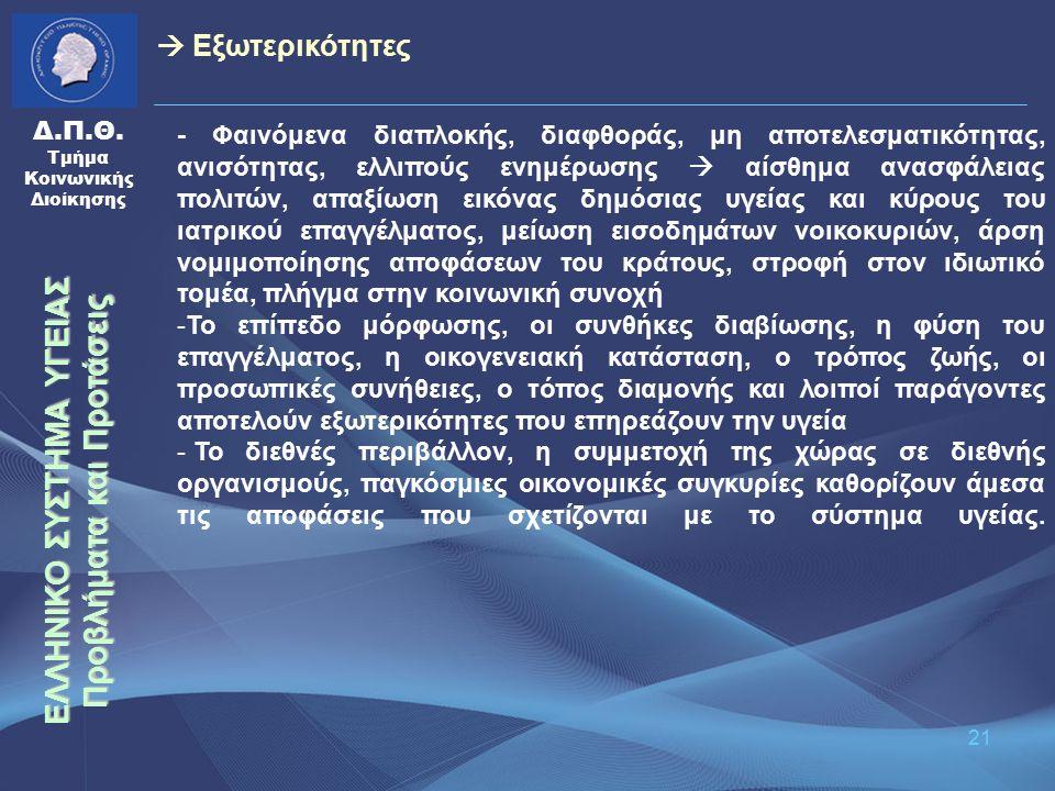 21 Δ.Π.Θ. Τμήμα Κοινωνικής Διοίκησης - Φαινόμενα διαπλοκής, διαφθοράς, μη αποτελεσματικότητας, ανισότητας, ελλιπούς ενημέρωσης  αίσθημα ανασφάλειας π