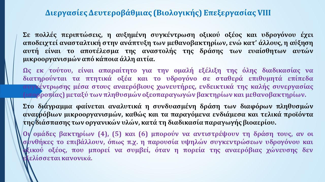Διεργασίες Δευτεροβάθμιας (Βιολογικής) Επεξεργασίας VIII Σε πολλές περιπτώσεις, η αυξημένη συγκέντρωση οξικού οξέος και υδρογόνου έχει αποδειχτεί ανασ