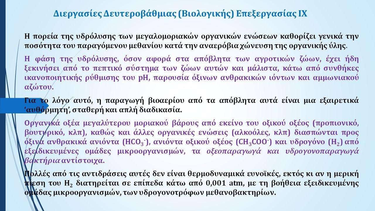 Διεργασίες Δευτεροβάθμιας (Βιολογικής) Επεξεργασίας ΙX Η πορεία της υδρόλυσης των μεγαλομοριακών οργανικών ενώσεων καθορίζει γενικά την ποσότητα του παραγόμενου μεθανίου κατά την αναερόβια χώνευση της οργανικής ύλης.