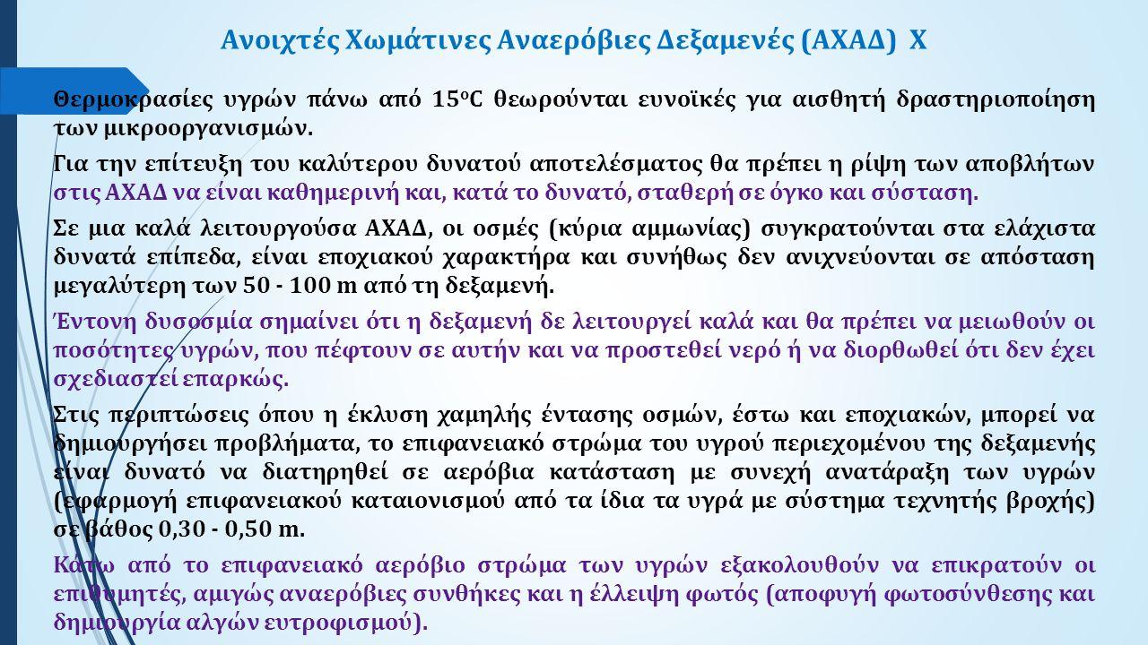 Ανοιχτές Χωμάτινες Αναερόβιες Δεξαμενές (ΑΧΑΔ)X Θερμοκρασίες υγρών πάνω από 15 ο C θεωρούνται ευνοϊκές για αισθητή δραστηριοποίηση των μικροοργανισμών