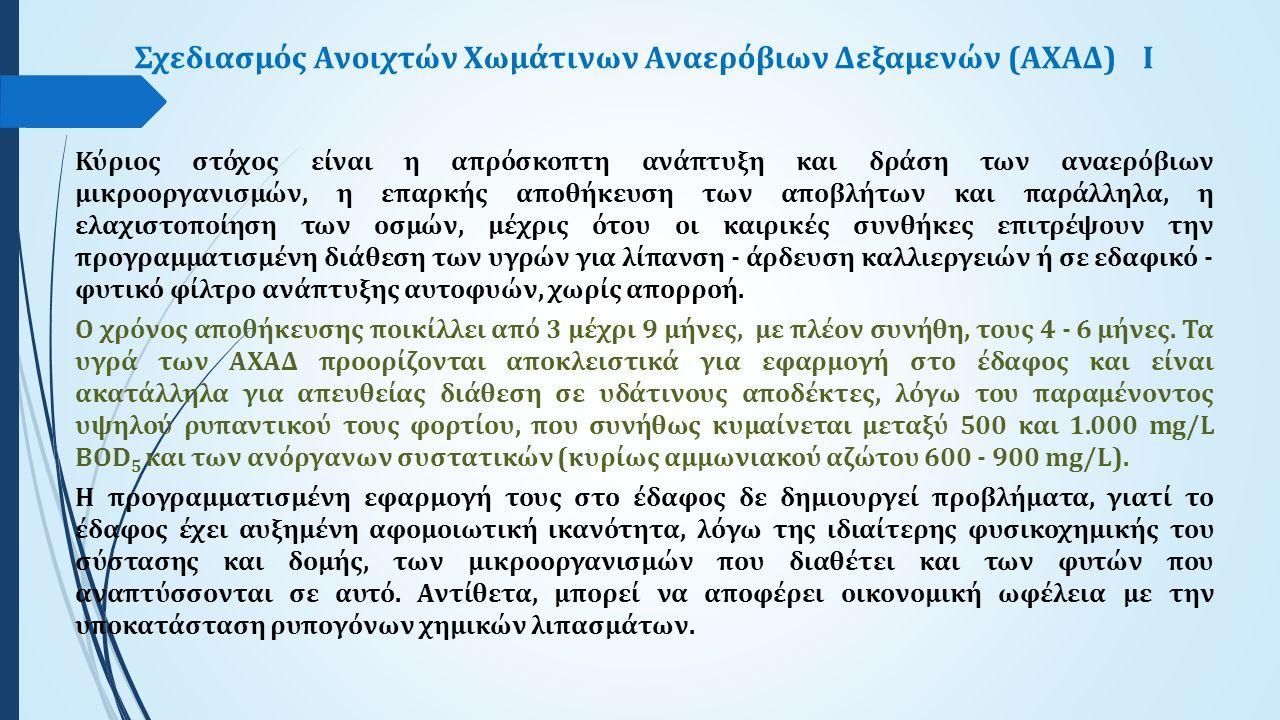 Σχεδιασμός Ανοιχτών Χωμάτινων Αναερόβιων Δεξαμενών (ΑΧΑΔ)Ι Κύριος στόχος είναι η απρόσκοπτη ανάπτυξη και δράση των αναερόβιων μικροοργανισμών, η επαρκ