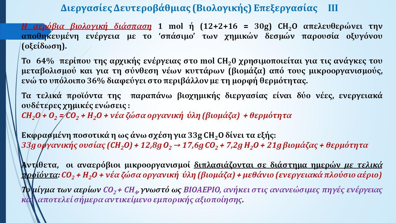 Διεργασίες Δευτεροβάθμιας (Βιολογικής) Επεξεργασίας ΙIΙ Η αερόβια βιολογική διάσπαση 1 mol ή (12+2+16 = 30g) CH 2 O απελευθερώνει την αποθηκευμένη ενέργεια με το 'σπάσιμο' των χημικών δεσμών παρουσία οξυγόνου (οξείδωση).