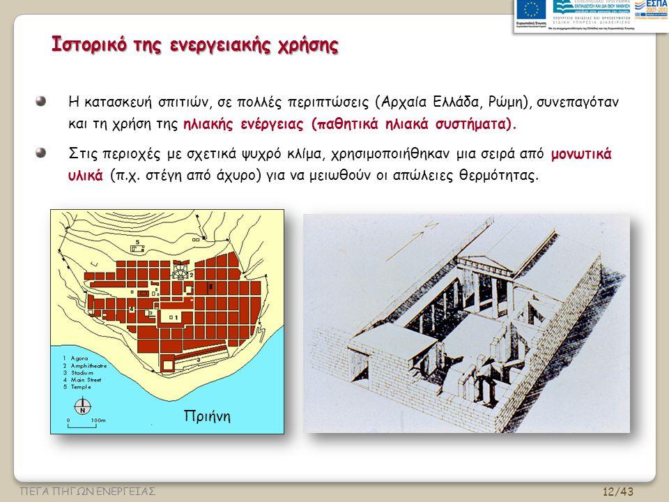 12/43 ΠΕΓΑ ΠΗΓΩΝ ΕΝΕΡΓΕΙΑΣ Ιστορικό της ενεργειακής χρήσης Η κατασκευή σπιτιών, σε πολλές περιπτώσεις (Αρχαία Ελλάδα, Ρώμη), συνεπαγόταν και τη χρήση της ηλιακής ενέργειας (παθητικά ηλιακά συστήματα).