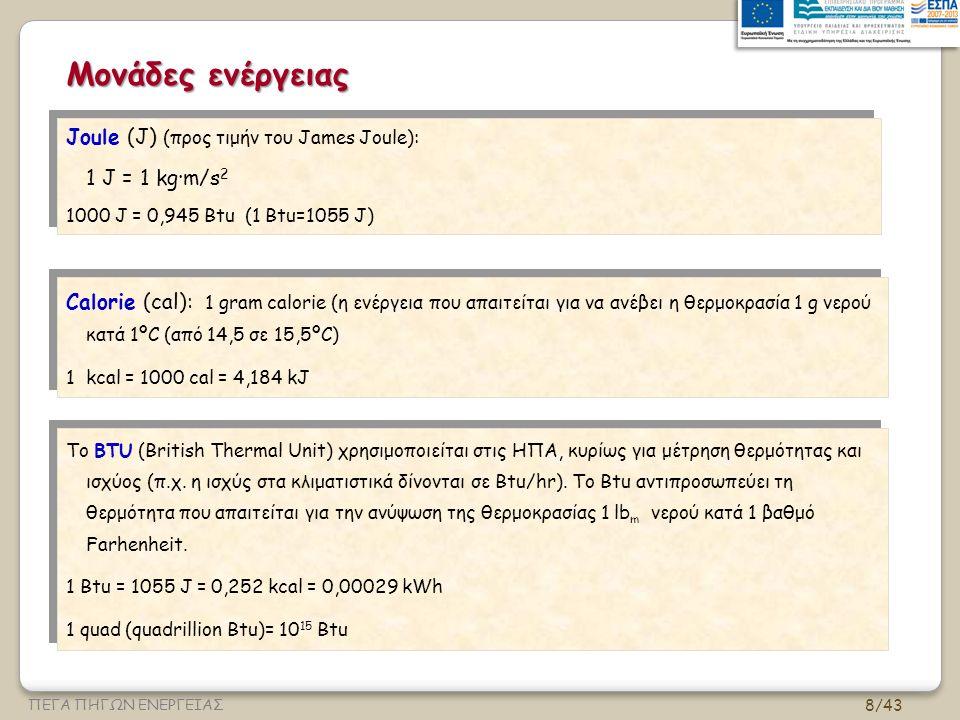 8/43 ΠΕΓΑ ΠΗΓΩΝ ΕΝΕΡΓΕΙΑΣ Μονάδες ενέργειας Joule (J) (προς τιμήν του James Joule): 1 J = 1 kg∙m/s 2 1000 J = 0,945 Btu (1 Btu=1055 J) Joule (J) (προς τιμήν του James Joule): 1 J = 1 kg∙m/s 2 1000 J = 0,945 Btu (1 Btu=1055 J) Calorie (cal): 1 gram calorie (η ενέργεια που απαιτείται για να ανέβει η θερμοκρασία 1 g νερού κατά 1ºC (από 14,5 σε 15,5ºC) 1 kcal = 1000 cal = 4,184 kJ Calorie (cal): 1 gram calorie (η ενέργεια που απαιτείται για να ανέβει η θερμοκρασία 1 g νερού κατά 1ºC (από 14,5 σε 15,5ºC) 1 kcal = 1000 cal = 4,184 kJ Το BTU (British Thermal Unit) χρησιμοποιείται στις ΗΠΑ, κυρίως για μέτρηση θερμότητας και ισχύος (π.χ.