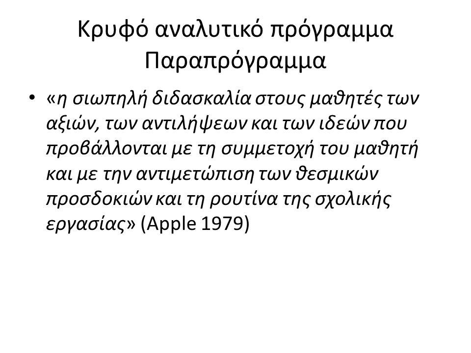 Κρυφό αναλυτικό πρόγραμμα Παραπρόγραμμα «η σιωπηλή διδασκαλία στους μαθητές των αξιών, των αντιλήψεων και των ιδεών που προβάλλονται με τη συμμετοχή του μαθητή και με την αντιμετώπιση των θεσμικών προσδοκιών και τη ρουτίνα της σχολικής εργασίας» (Apple 1979)