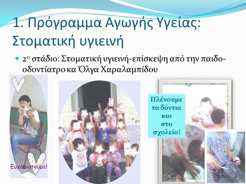 1. Πρόγραμμα Αγωγής Υγείας: Στοματική υγιεινή 2 ο στάδιο: Στοματική υγιεινή-επίσκεψη από την παιδο- οδοντίατρο κα Όλγα Χαραλαμπίδου