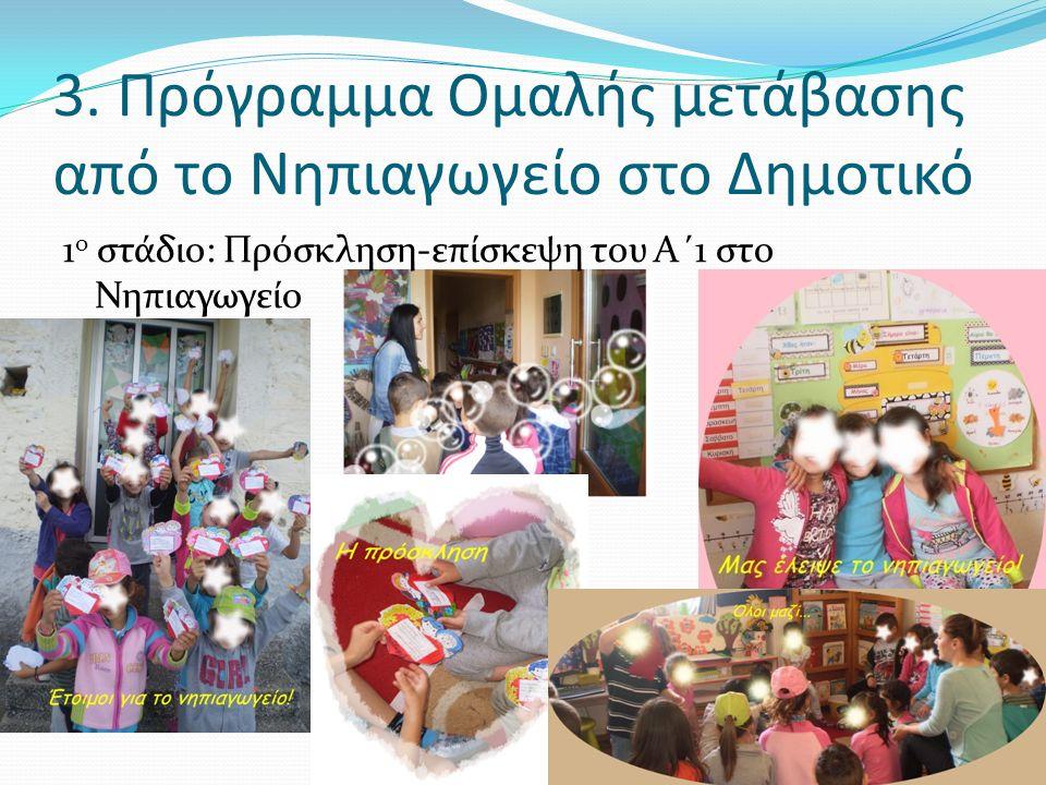 3. Πρόγραμμα Ομαλής μετάβασης από το Νηπιαγωγείο στο Δημοτικό 1 ο στάδιο: Πρόσκληση-επίσκεψη του Α΄1 στο Νηπιαγωγείο