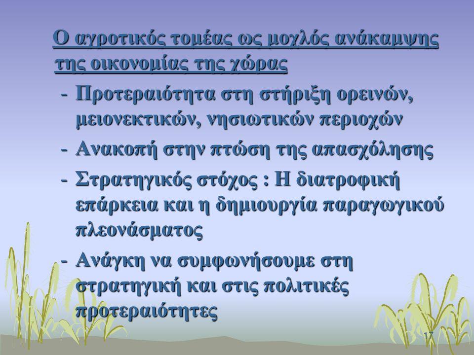 17 Ο αγροτικός τομέας ως μοχλός ανάκαμψης της οικονομίας της χώρας Ο αγροτικός τομέας ως μοχλός ανάκαμψης της οικονομίας της χώρας -Προτεραιότητα στη στήριξη ορεινών, μειονεκτικών, νησιωτικών περιοχών -Ανακοπή στην πτώση της απασχόλησης -Στρατηγικός στόχος : Η διατροφική επάρκεια και η δημιουργία παραγωγικού πλεονάσματος -Ανάγκη να συμφωνήσουμε στη στρατηγική και στις πολιτικές προτεραιότητες