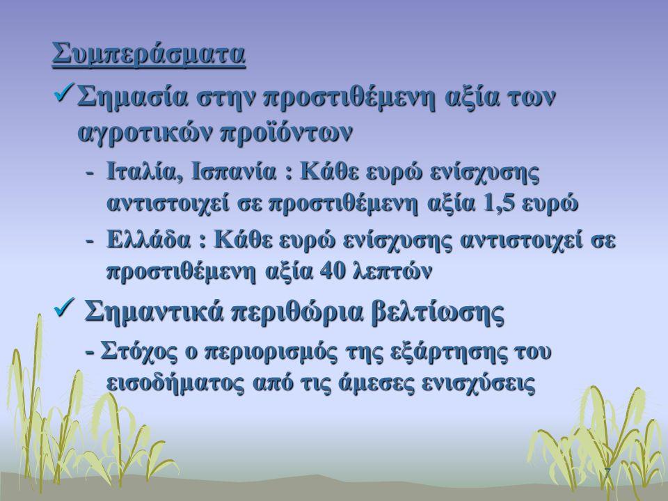 7 Συμπεράσματα Σημασία στην προστιθέμενη αξία των αγροτικών προϊόντων Σημασία στην προστιθέμενη αξία των αγροτικών προϊόντων -Ιταλία, Ισπανία : Κάθε ευρώ ενίσχυσης αντιστοιχεί σε προστιθέμενη αξία 1,5 ευρώ -Ελλάδα : Κάθε ευρώ ενίσχυσης αντιστοιχεί σε προστιθέμενη αξία 40 λεπτών Σημαντικά περιθώρια βελτίωσης Σημαντικά περιθώρια βελτίωσης - Στόχος ο περιορισμός της εξάρτησης του εισοδήματος από τις άμεσες ενισχύσεις