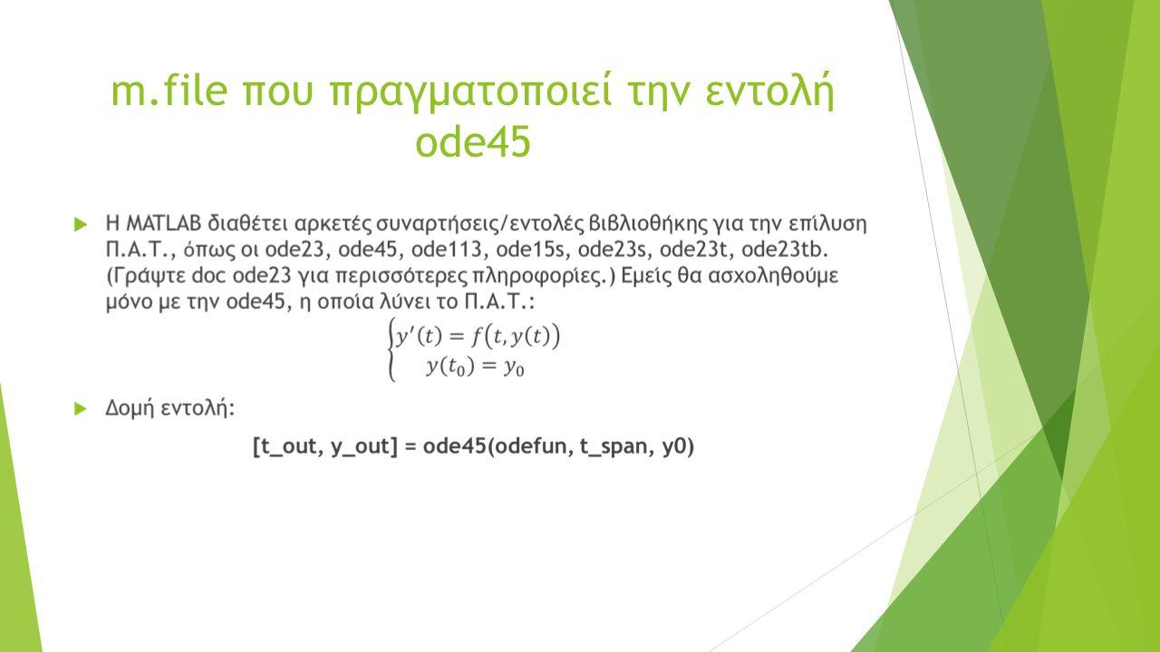 m.file που πραγματοποιεί την εντολή ode45 