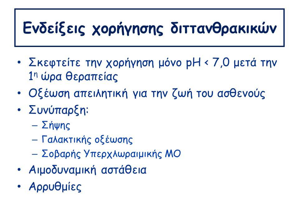 Ενδείξεις χορήγησης διττανθρακικών Σκεφτείτε την χορήγηση μόνο pH < 7,0 μετά την 1 η ώρα θεραπείας Οξέωση απειλητική για την ζωή του ασθενούς Συνύπαρξη: – Σήψης – Γαλακτικής οξέωσης – Σοβαρής Υπερχλωραιμικής ΜΟ Αιμοδυναμική αστάθεια Αρρυθμίες