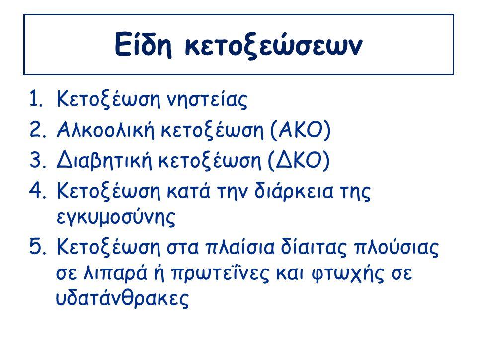 Είδη κετοξεώσεων 1.Κετοξέωση νηστείας 2.Αλκοολική κετοξέωση (ΑΚΟ) 3.Διαβητική κετοξέωση (ΔΚΟ) 4.Κετοξέωση κατά την διάρκεια της εγκυμοσύνης 5.Κετοξέωση στα πλαίσια δίαιτας πλούσιας σε λιπαρά ή πρωτεΐνες και φτωχής σε υδατάνθρακες