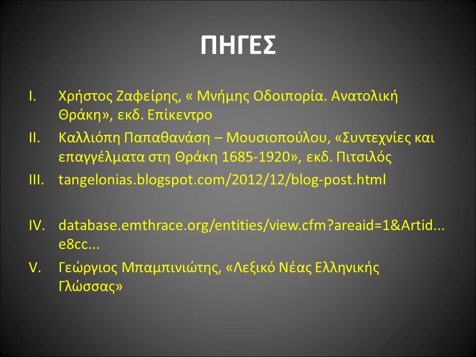 ΠΗΓΕΣ I.Χρήστος Ζαφείρης, « Μνήμης Οδοιπορία. Ανατολική Θράκη», εκδ.