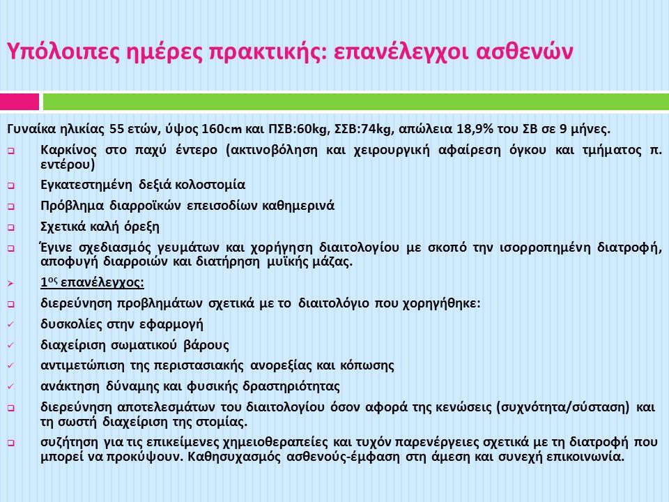 Υπόλοιπες ημέρες πρακτικής : επανέλεγχοι ασθενών Γυναίκα ηλικίας 55 ετών, ύψος 160cm και ΠΣΒ :60kg, ΣΣΒ :74kg, απώλεια 18,9% του ΣΒ σε 9 μήνες.