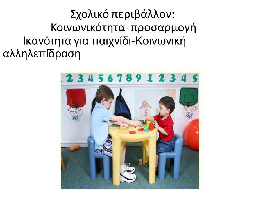 Σχολικό περιβάλλον: Κοινωνικότητα- προσαρμογή Ικανότητα για παιχνίδι-Κοινωνική αλληλεπίδραση