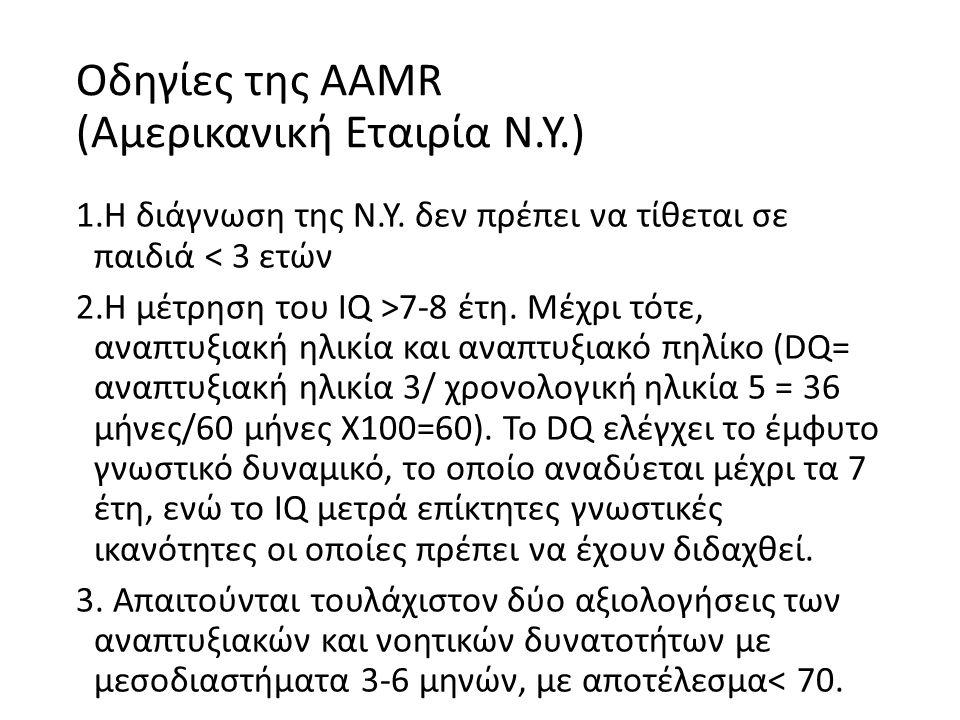 Οδηγίες της ΑΑΜR (Αμερικανική Εταιρία Ν.Υ.) 1.Η διάγνωση της Ν.Υ.