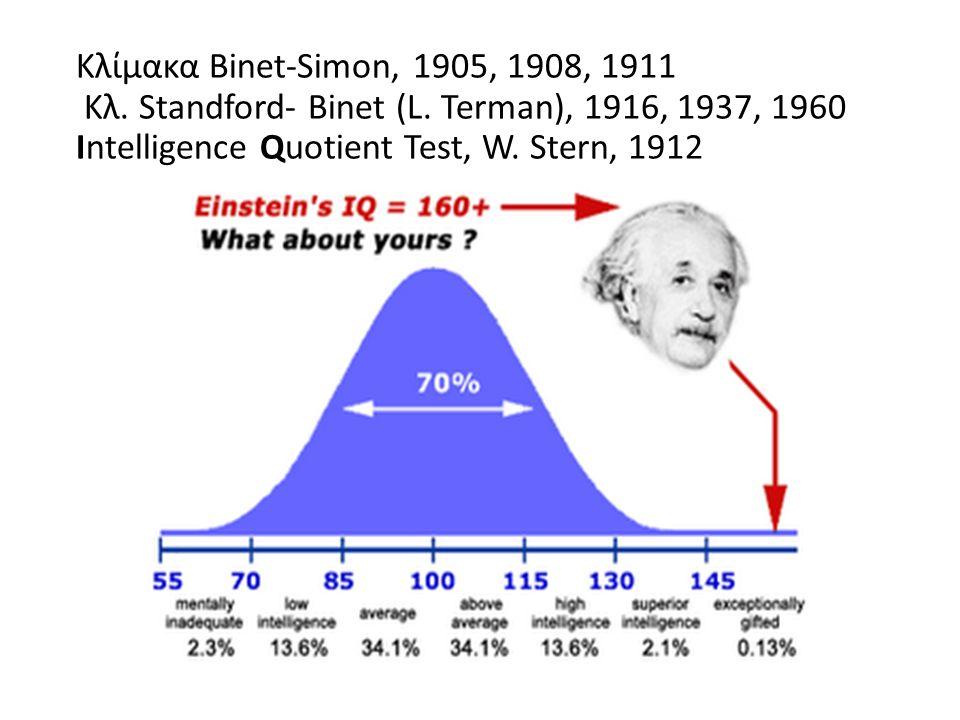 Κλίμακα Binet-Simon, 1905, 1908, 1911 Κλ. Standford- Binet (L.