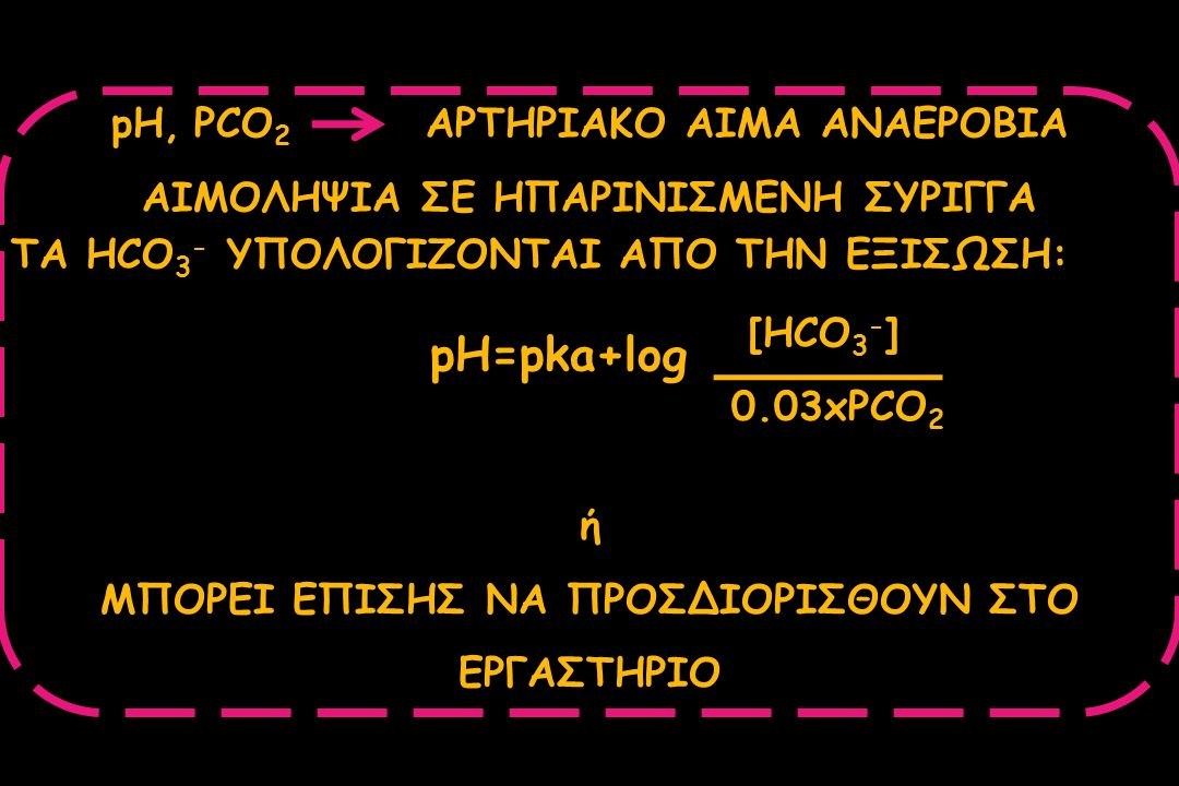 pH, PCO 2 ΑΡΤΗΡΙΑΚΟ ΑΙΜΑ ΑΝΑΕΡΟΒΙΑ ΑΙΜΟΛΗΨΙΑ ΣΕ ΗΠΑΡΙΝΙΣΜΕΝΗ ΣΥΡΙΓΓΑ ΤΑ HCO 3 - ΥΠΟΛΟΓΙΖΟΝΤΑΙ ΑΠΟ ΤΗΝ ΕΞΙΣΩΣΗ: pH=pka+log [HCO 3 - ] 0.03xPCO 2 ή ΜΠΟΡ