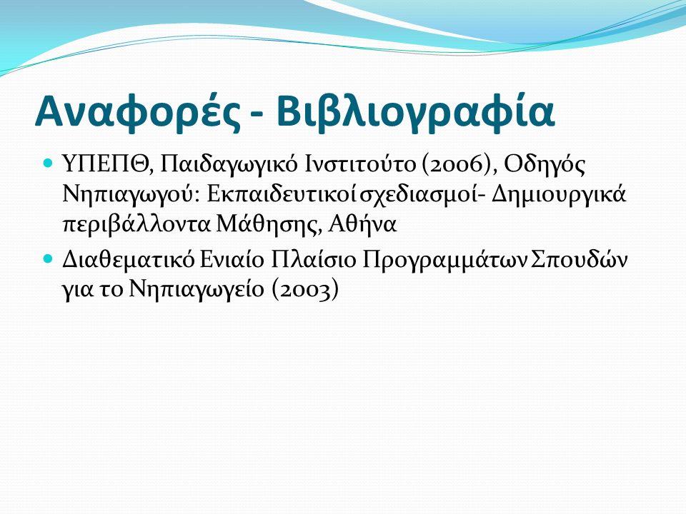 Αναφορές - Βιβλιογραφία ΥΠΕΠΘ, Παιδαγωγικό Ινστιτούτο (2006), Οδηγός Νηπιαγωγού: Εκπαιδευτικοί σχεδιασμοί- Δημιουργικά περιβάλλοντα Μάθησης, Αθήνα Διαθεματικό Ενιαίο Πλαίσιο Προγραμμάτων Σπουδών για το Νηπιαγωγείο (2003)