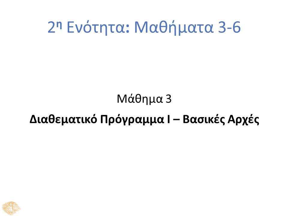 2 η Ενότητα: Μαθήματα 3-6 Μάθημα 3 Διαθεματικό Πρόγραμμα Ι – Βασικές Αρχές