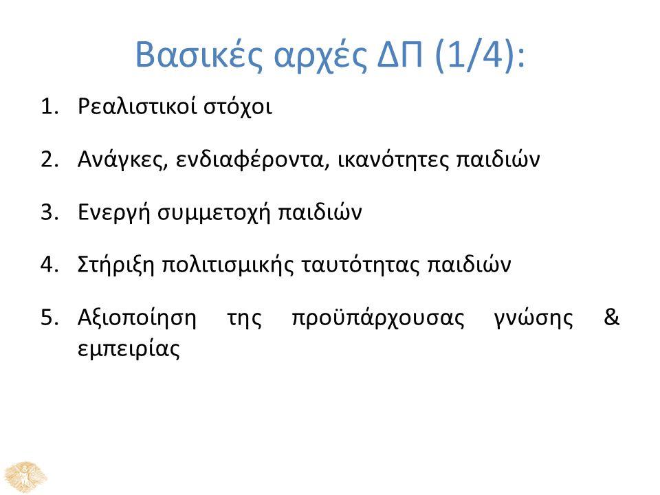 Βασικές αρχές ΔΠ (1/4): 1.Ρεαλιστικοί στόχοι 2.Ανάγκες, ενδιαφέροντα, ικανότητες παιδιών 3.Ενεργή συμμετοχή παιδιών 4.Στήριξη πολιτισμικής ταυτότητας παιδιών 5.Αξιοποίηση της προϋπάρχουσας γνώσης & εμπειρίας