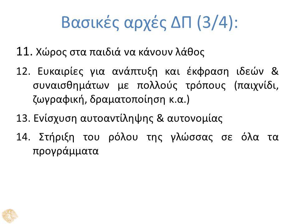 Βασικές αρχές ΔΠ (3/4): 11. Χώρος στα παιδιά να κάνουν λάθος 12.