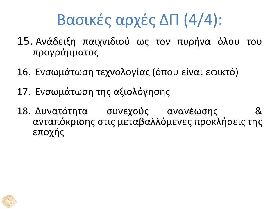 Βασικές αρχές ΔΠ (4/4): 15. Ανάδειξη παιχνιδιού ως τον πυρήνα όλου του προγράμματος 16.