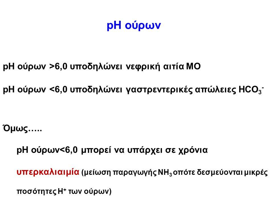pH ούρων pH ούρων >6,0 υποδηλώνει νεφρική αιτία ΜΟ pH ούρων <6,0 υποδηλώνει γαστρεντερικές απώλειες HCO 3 - Όμως….. pH ούρων<6,0 μπορεί να υπάρχει σε