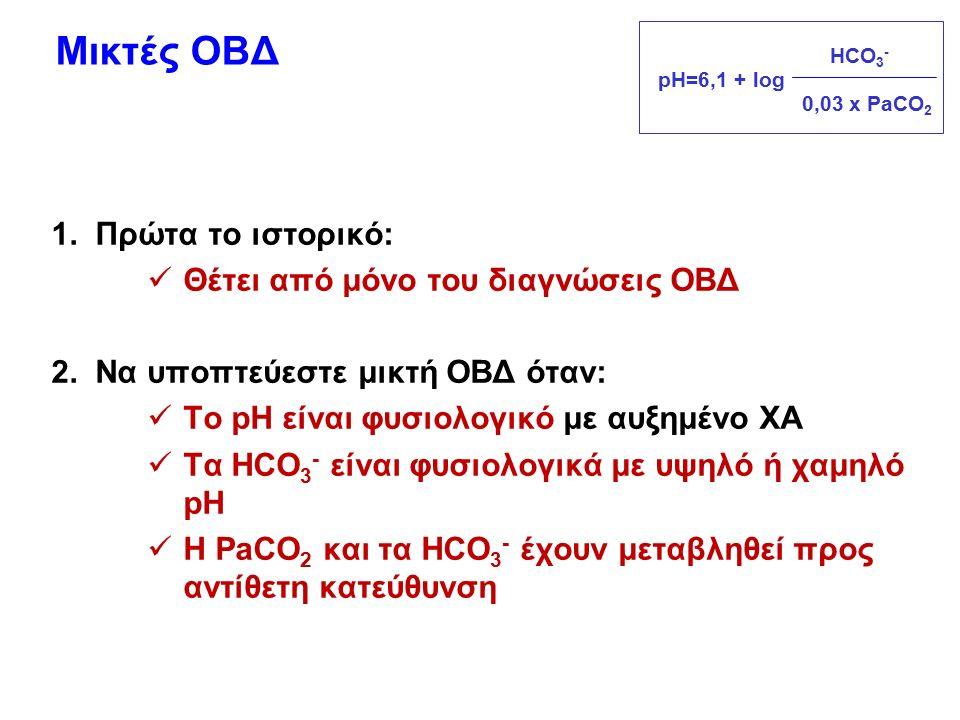 Μικτές ΟΒΔ 1. Πρώτα το ιστορικό: Θέτει από μόνο του διαγνώσεις ΟΒΔ 2. Να υποπτεύεστε μικτή ΟΒΔ όταν: Το pH είναι φυσιολογικό με αυξημένο ΧΑ Τα HCO 3 -