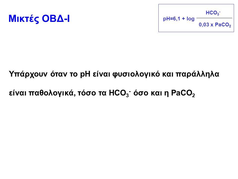 Υπάρχουν όταν το pH είναι φυσιολογικό και παράλληλα είναι παθολογικά, τόσο τα HCO 3 - όσο και η PaCO 2 Μικτές ΟΒΔ-Ι pH=6,1 + log 0,03 x PaCO 2 HCO 3 -