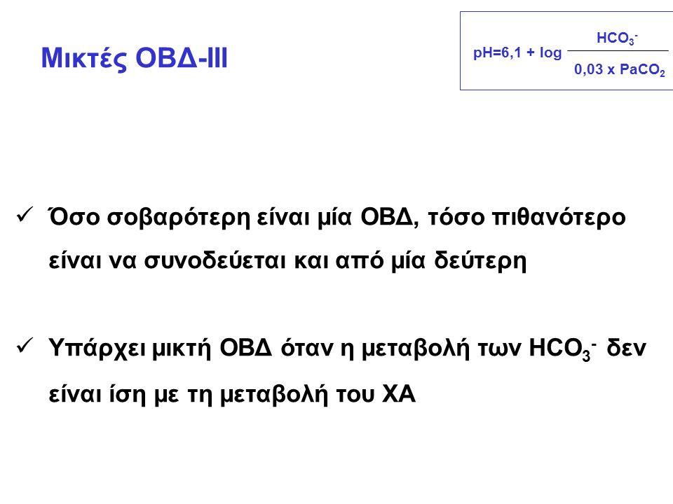 Όσο σοβαρότερη είναι μία ΟΒΔ, τόσο πιθανότερο είναι να συνοδεύεται και από μία δεύτερη Υπάρχει μικτή ΟΒΔ όταν η μεταβολή των HCO 3 - δεν είναι ίση με τη μεταβολή του ΧΑ Μικτές ΟΒΔ-ΙΙΙ pH=6,1 + log HCO 3 - 0,03 x PaCO 2