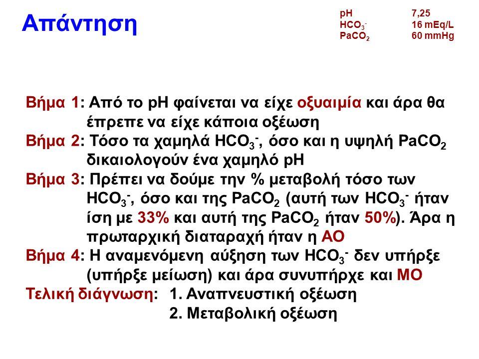 Απάντηση Βήμα 1: Από το pH φαίνεται να είχε οξυαιμία και άρα θα έπρεπε να είχε κάποια οξέωση Βήμα 2: Τόσο τα χαμηλά HCO 3 -, όσο και η υψηλή PaCO 2 δικαιολογούν ένα χαμηλό pH Βήμα 3: Πρέπει να δούμε την % μεταβολή τόσο των HCO 3 -, όσο και της PaCO 2 (αυτή των HCO 3 - ήταν ίση με 33% και αυτή της PaCO 2 ήταν 50%).