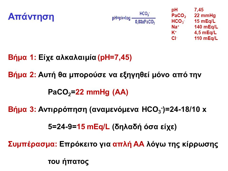 Απάντηση Βήμα 1: Είχε αλκαλαιμία (pH=7,45) Βήμα 2: Αυτή θα μπορούσε να εξηγηθεί μόνο από την PaCO 2 =22 mmHg (ΑΑ) Βήμα 3: Αντιρρόπηση (αναμενόμενα HCO 3 - )=24-18/10 x 5=24-9=15 mEq/L (δηλαδή όσα είχε) Συμπέρασμα: Επρόκειτο για απλή ΑΑ λόγω της κίρρωσης του ήπατος pH7,45 PaCO 2 22 mmHg HCO 3 - 15 mEq/L Na + 140 mEq/L K + 4,5 mEq/L CI - 110 mEq/L
