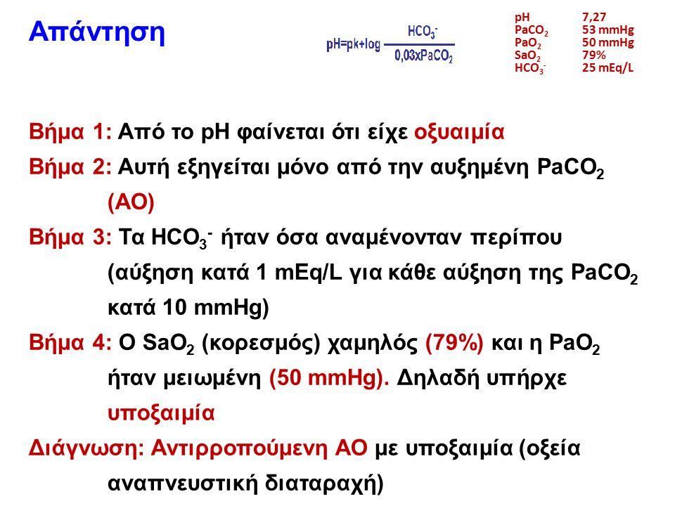pH7,27 PaCO 2 53 mmHg PaO 2 50 mmHg SaO 2 79% HCO 3 - 25 mEq/L Απάντηση Βήμα 1: Από το pH φαίνεται ότι είχε οξυαιμία Βήμα 2: Αυτή εξηγείται μόνο από την αυξημένη PaCO 2 (ΑΟ) Βήμα 3: Τα HCO 3 - ήταν όσα αναμένονταν περίπου (αύξηση κατά 1 mEq/L για κάθε αύξηση της PaCO 2 κατά 10 mmHg) Βήμα 4: Ο SaO 2 (κορεσμός) χαμηλός (79%) και η PaO 2 ήταν μειωμένη (50 mmHg).