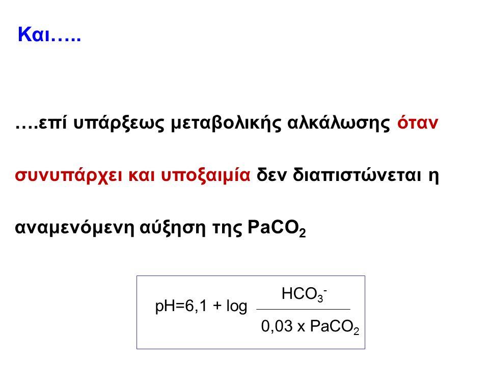 pH=6,1 + log HCO 3 - 0,03 x PaCO 2 ….επί υπάρξεως μεταβολικής αλκάλωσης όταν συνυπάρχει και υποξαιμία δεν διαπιστώνεται η αναμενόμενη αύξηση της PaCO