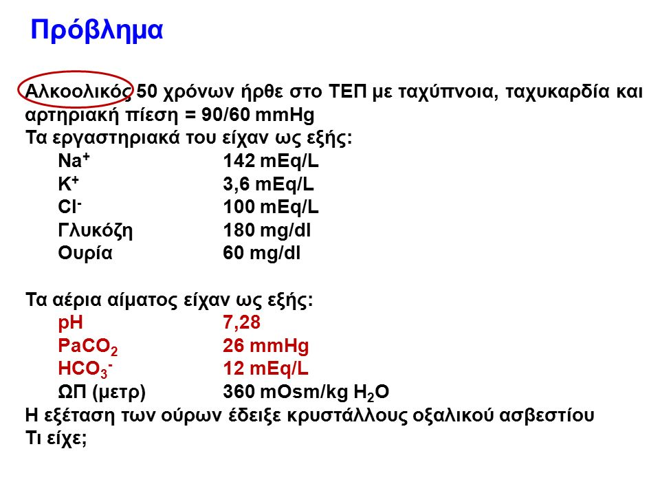 Αλκοολικός 50 χρόνων ήρθε στο ΤΕΠ με ταχύπνοια, ταχυκαρδία και αρτηριακή πίεση = 90/60 mmHg Τα εργαστηριακά του είχαν ως εξής: Na + 142 mEq/L K + 3,6 mEq/L CI - 100 mEq/L Γλυκόζη180 mg/dl Ουρία60 mg/dl Τα αέρια αίματος είχαν ως εξής: pH7,28 PaCO 2 26 mmHg HCO 3 - 12 mEq/L ΩΠ (μετρ)360 mOsm/kg H 2 O H εξέταση των ούρων έδειξε κρυστάλλους οξαλικού ασβεστίου Τι είχε; Πρόβλημα