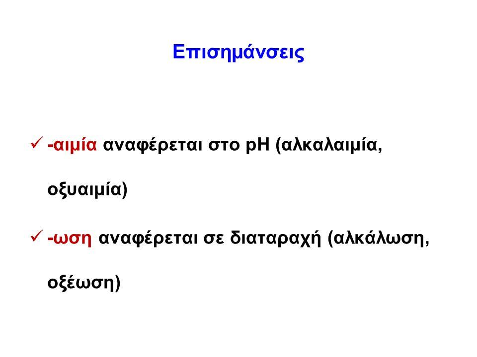 Επισημάνσεις -αιμία αναφέρεται στο pH (αλκαλαιμία, οξυαιμία) -ωση αναφέρεται σε διαταραχή (αλκάλωση, οξέωση)