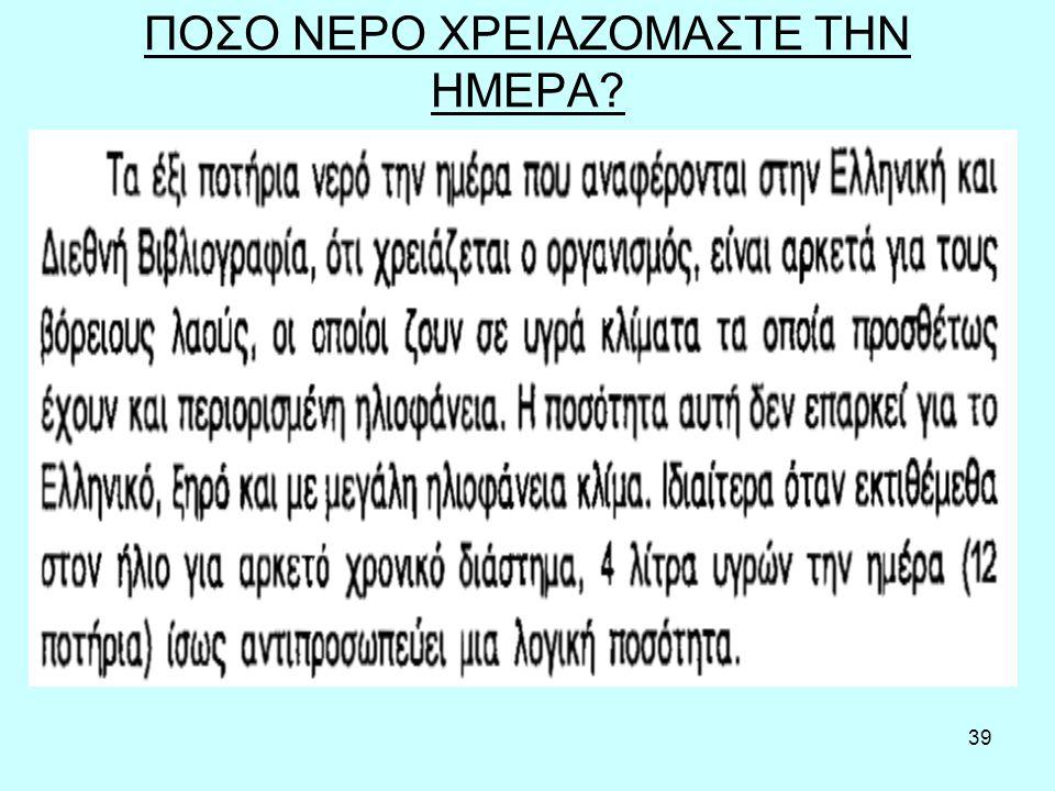 39 ΠΟΣΟ ΝΕΡΟ ΧΡΕΙΑΖΟΜΑΣΤΕ ΤΗΝ ΗΜΕΡΑ