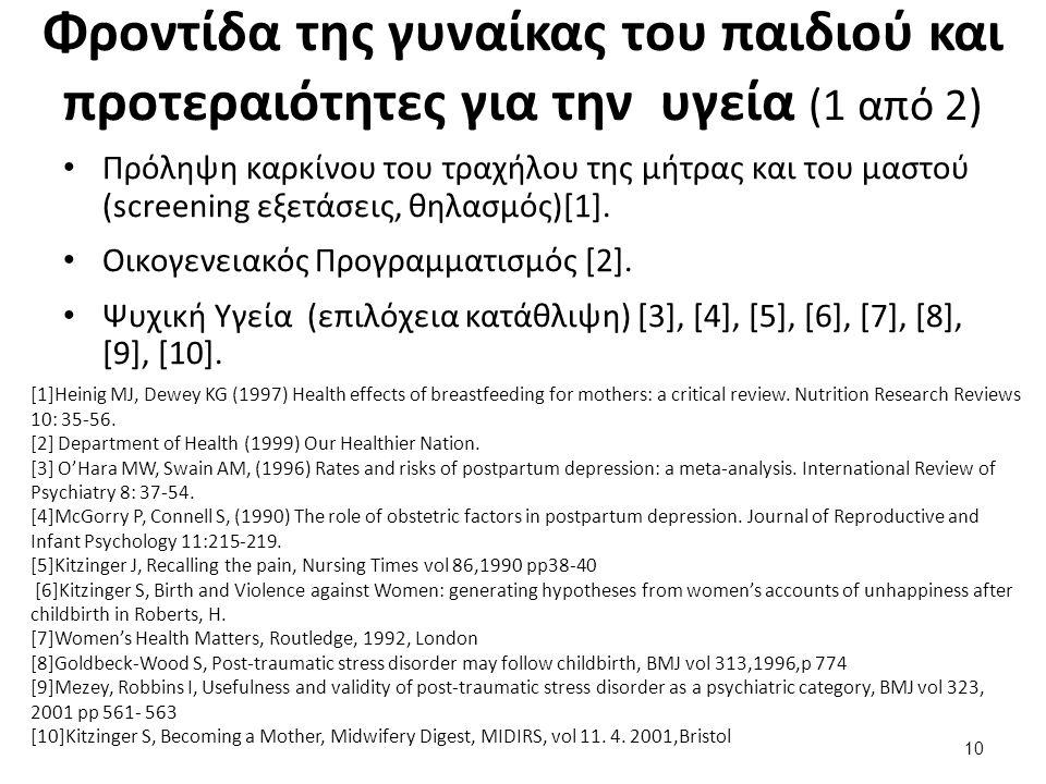 Φροντίδα της γυναίκας του παιδιού και προτεραιότητες για την υγεία (1 από 2) Πρόληψη καρκίνου του τραχήλου της μήτρας και του μαστού (screening εξετάσεις, θηλασμός)[1].