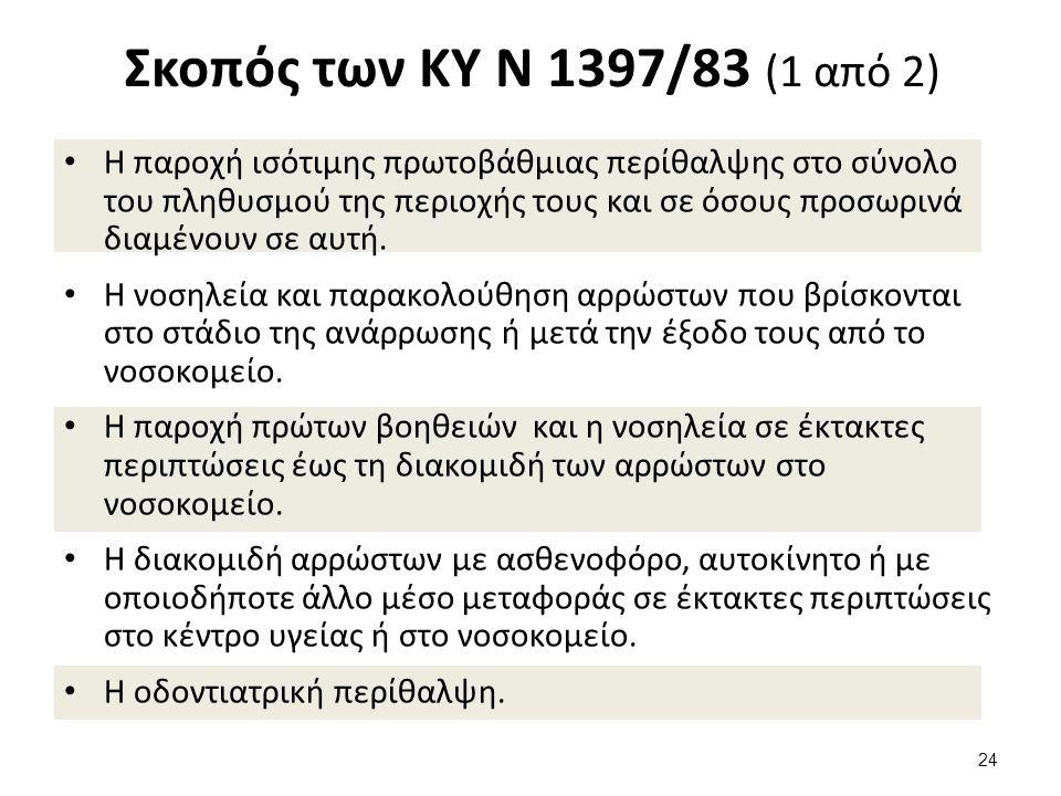 Σκοπός των ΚΥ Ν 1397/83 (1 από 2) Η παροχή ισότιμης πρωτοβάθμιας περίθαλψης στο σύνολο του πληθυσμού της περιοχής τους και σε όσους προσωρινά διαμένουν σε αυτή.