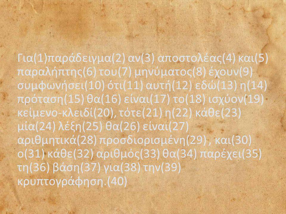 Για(1)παράδειγμα(2) αν(3) αποστολέας(4) και(5) παραλήπτης(6) του(7) μηνύματος(8) έχουν(9) συμφωνήσει(10) ότι(11) αυτή(12) εδώ(13) η(14) πρόταση(15) θα(16) είναι(17) το(18) ισχύον(19) κείμενο-κλειδί(20), τότε(21) η(22) κάθε(23) μία(24) λέξη(25) θα(26) είναι(27) αριθμητικά(28) προσδιορισμένη(29), και(30) ο(31) κάθε(32) αριθμός(33) θα(34) παρέχει(35) τη(36) βάση(37) για(38) την(39) κρυπτογράφηση.(40)
