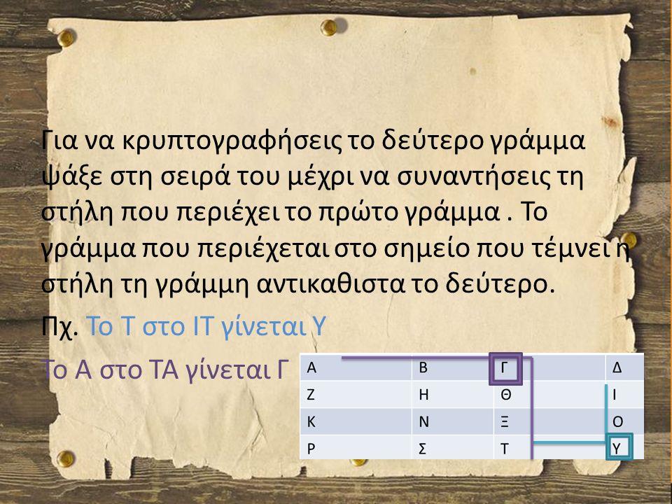 Για να κρυπτογραφήσεις το δεύτερο γράμμα ψάξε στη σειρά του μέχρι να συναντήσεις τη στήλη που περιέχει το πρώτο γράμμα.