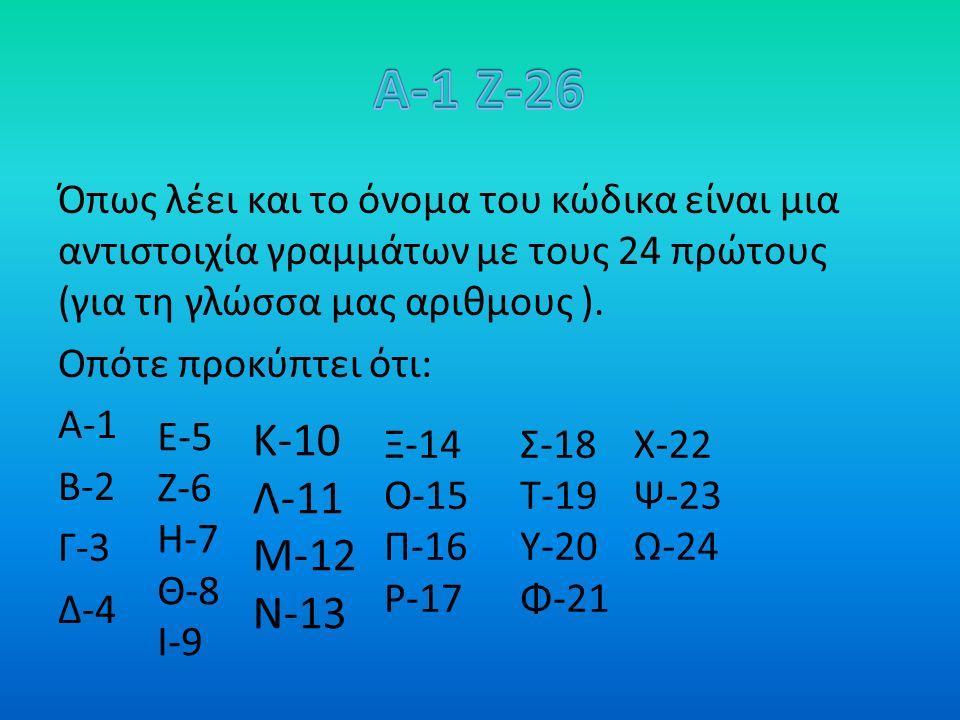 Όπως λέει και το όνομα του κώδικα είναι μια αντιστοιχία γραμμάτων με τους 24 πρώτους (για τη γλώσσα μας αριθμους ).