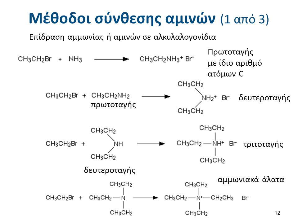 Μέθοδοι σύνθεσης αμινών (1 από 3) Επίδραση αμμωνίας ή αμινών σε αλκυλαλογονίδια Πρωτοταγής με ίδιο αριθμό ατόμων C πρωτοταγής δευτεροταγής τριτοταγής αμμωνιακά άλατα 12